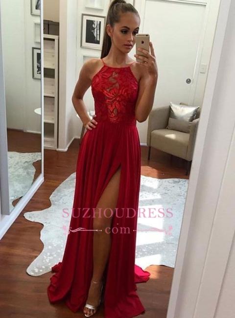 Split Sexy Formal Evening Dress  Chiffon Halter Red Prom Dress BA6877