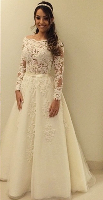 Elegant A-line Scollaped Long Sleeve Wedding Dresses   Bridal Gowns
