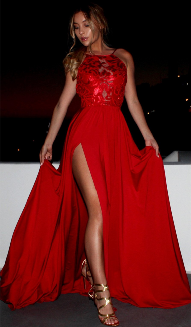 Red Sexy Side Split Sleeveless Prom Dresses Sleeveless Straps   Evening Gown