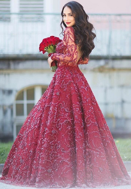 Glamorous Long Sleeves Open Back Evening Dresses   Crystal Puffy Formal Dresses