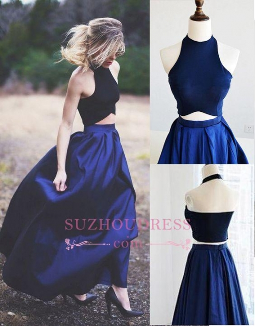 Two Piece Puffy Blue Navy Elegant Prom Dresses