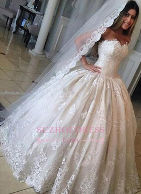 Ball Gown Gorgeous Sweetheart Lace Bride Dress Princess  Wedding Dresses