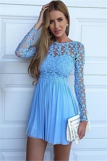 Blue A-Line Chiffon Short Homecoming Dresses Long Sleeve Lace Mini Summer Dress