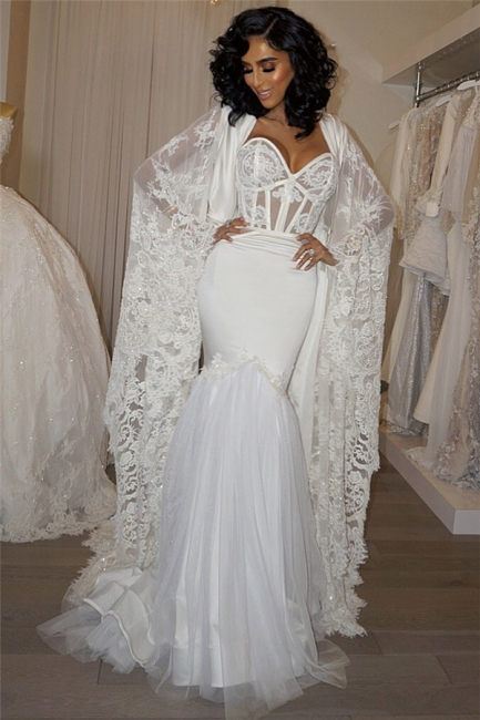 Gorgeous Sweetheart White Mermaid Wedding Dress Lace Long Bridal Gowns