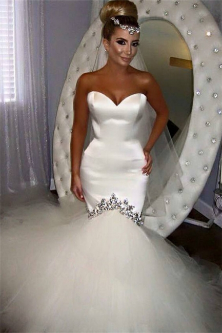 Sweetheart Fishtail Wedding Dresses Sparkly Crystals Puffy Tulle Bottom Bridal Gowns BA4020