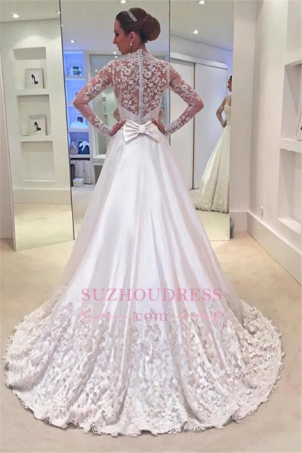 Appliques Sweep Train Long Sleeves Bride Dress Bowknot A-Line  Wedding Dress