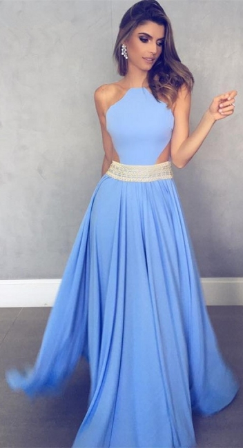 Sleeveless Sheer Back Sexy Formal Dresses   Blue Crystals Beads Belt Evening Gowns