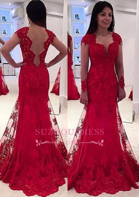 Red Long Sleeve Lace Evening Dresses  Sweep Train Sheer Tulle Modern Prom Dress