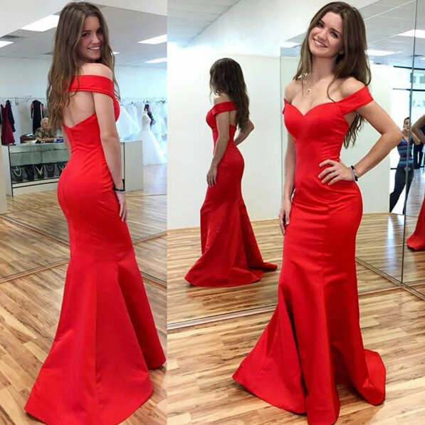 Simple Off the Shoulder Mermaid Party Dress  Red  Party Dresses BA7023
