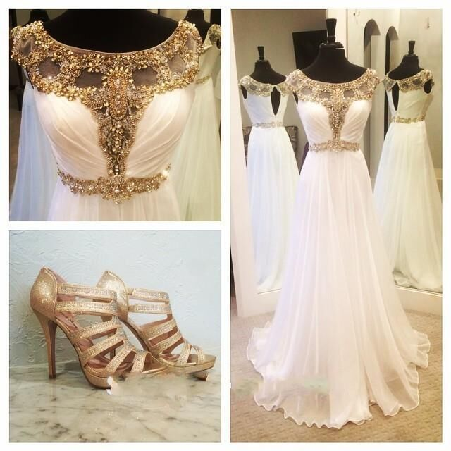 Gold Crystals  Prom Dresses White Chiffon Beaded A-line Evening Gown