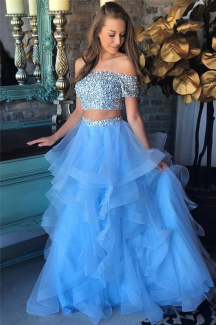Off the Shoulder Crystals Beads  Two Piece Prom Dress Blue Organza Tiere Ruffles Evening Gown FB0227