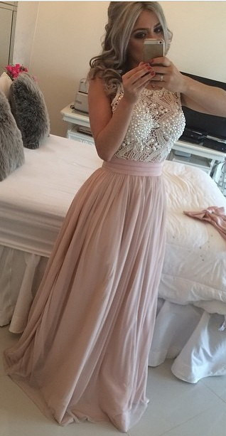 Elegant Pink Chiffon Long Prom Dress with Beadings New Arrival Evening Dress  BMT115
