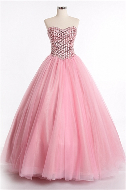 Latest Crystal Sweetheart Ball Gown Special Occassion Dresses Attractive Floor Length Tulle Quinceanera Dress