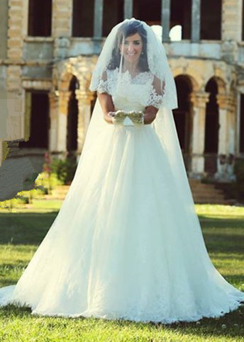 A-Line Elegant White Lace Wedding Dress Tulle Formal Sweep Train Custom Made Bridal Gowns