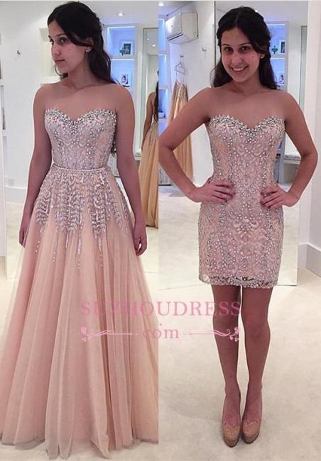 Gorgeous Beads Pink Detachable Formal Evening Dress  Sleeveless Sweetheart Prom Dress BA6785