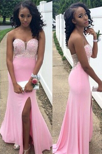 Sexy Mermiad Crystal Long Evening Dress Open Back Side Slit Floor Length Plus Size Dresses for Women TB0192