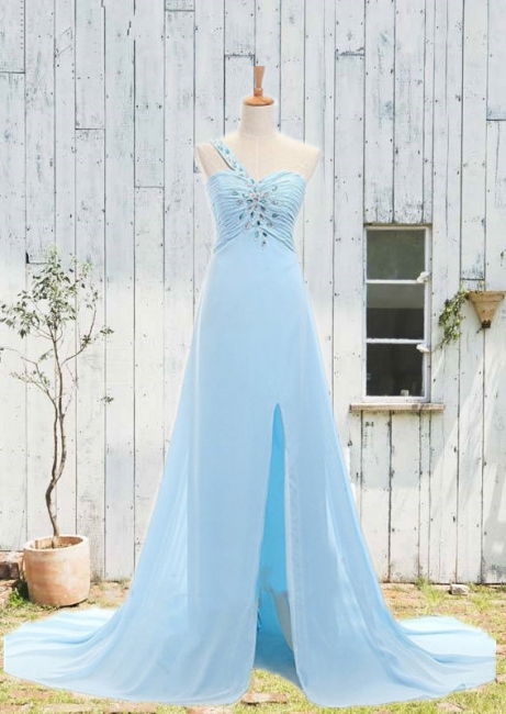 Sweetheart One Shoulder Crystal Prom Gowns Zipper Court Train  Party Dresses