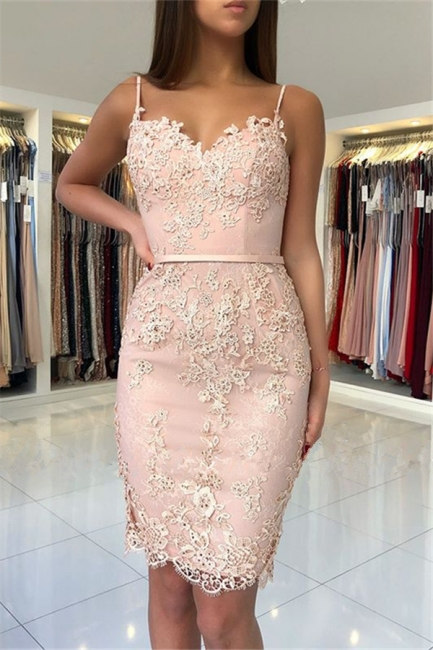 Pink Lace Sheath Short Party Dresses  | Sexy Straps  Homecoming Dresses Online