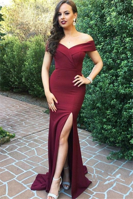 New Arrival Off-the-Shoulder Simple Prom Dresses  Side Slit Floor Length Evening Gowns