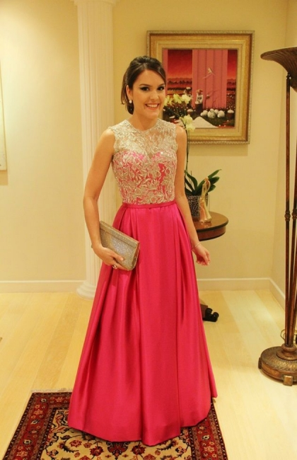 Elegant Satin A-Line Prom Gowns  Appliques Floor Length Evening Dresses with Buttons