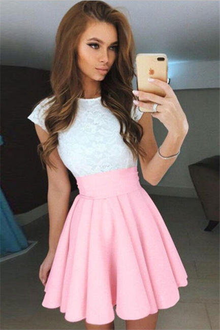 Cap Sleeves Lace Lovely Online Mini Homecoming Dresses
