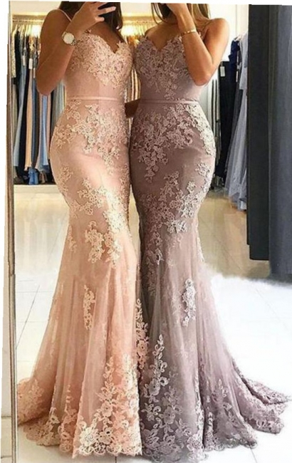 Spaghetti Straps Sexy Lace Prom Dresses  | Popular Sheath  Formal Evening Dress