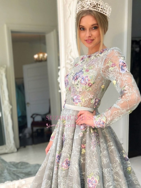 Silver Long Sleeve A-Line Lace Evening Gowns | See Through Sweep Train Prom Dress