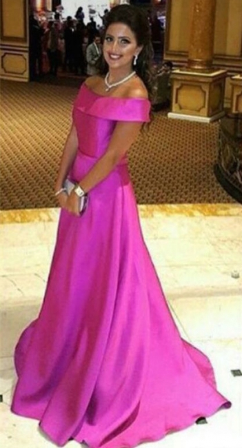 Simple Fuchsia Off the Shoulder Prom Dress New Arrival Sweep Train Formal Occasion Dress