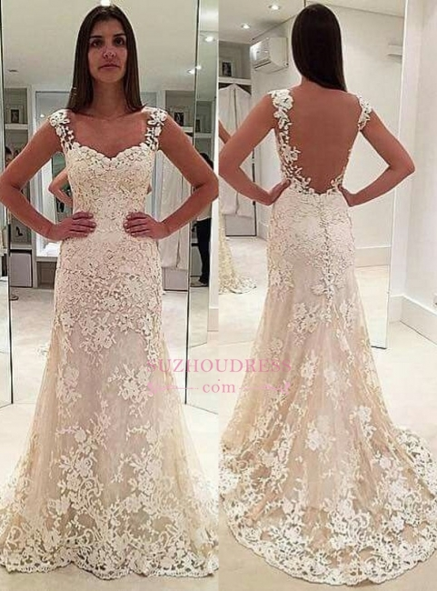 Elegant Sleeveless Backless Bride Dress  Straps Lace Champagne Wedding Dresses