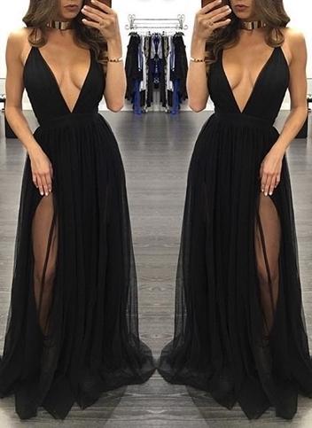 Sexy Sleeveless Tulle Backless Black V-Neck Side-Slit Prom Dress BA4672