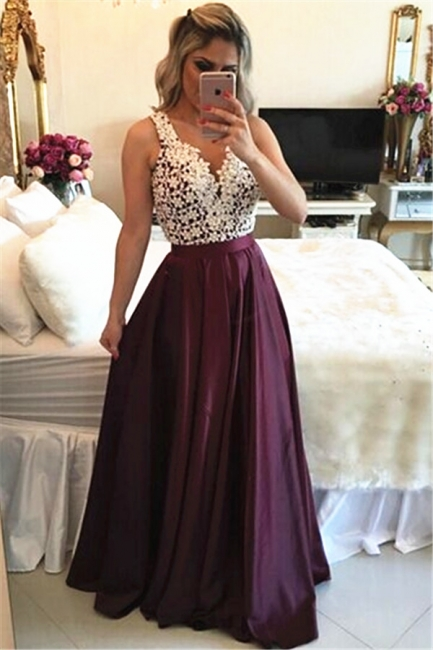 Burgundy Sleeveless Long Evening Dresses Online Lace Prom Dress  with Beads BMT203 BA3697