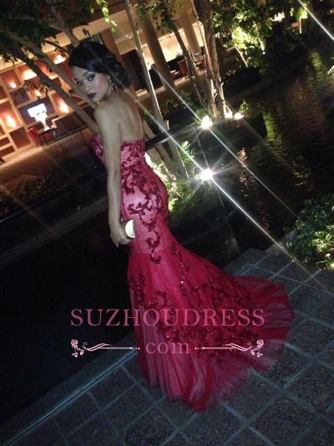 Glamorous Beadings Appliquues Mermaid Evening Gowns Sweetheart Red  Prom Dress