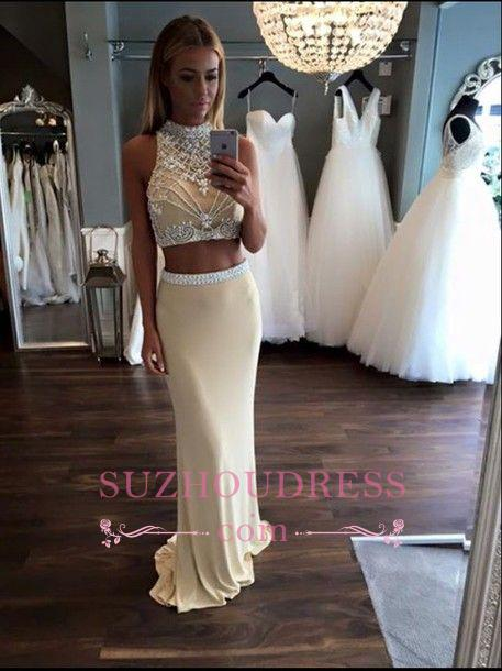 High Neck Two Piece Evening Dress Sheath Sleeveless Crystal Prom Dress