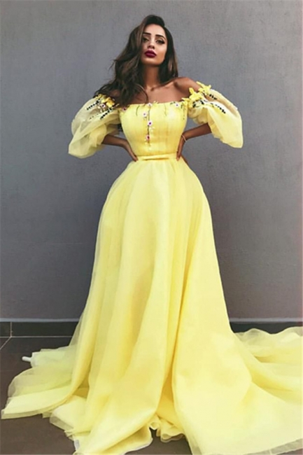 Yellow Off the Shoulder Half Sleeves Evening Dresses |  A-line Crystal Formal Dresses
