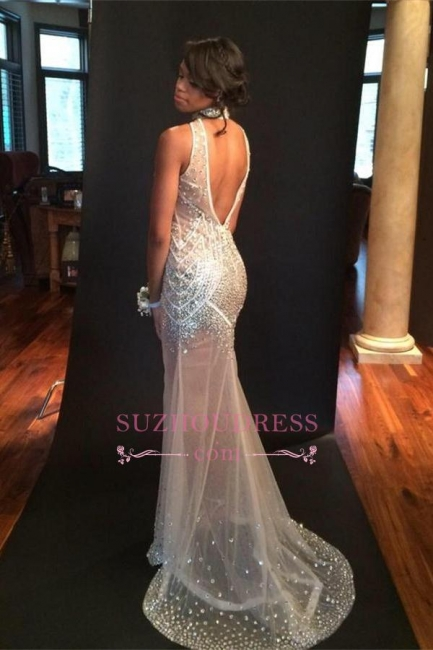 Sequins Keyhole Halter Sexy  Prom Gowns Mermaid Open Back Sheer Tulle Crystals Evening Dress
