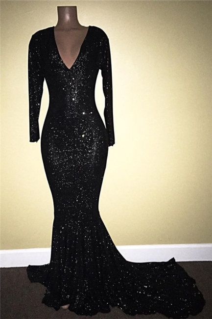 Long Sleeve Black Sequins Prom Dress Sheath V-neck Long Sleeve Shiny Evening Gown with Long Train BA7811