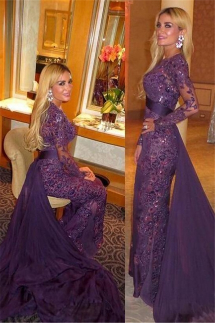 Long Sleeve Lace Appliques Evening Dresses Gorgeous Sheath Prom Dress  with Long Train