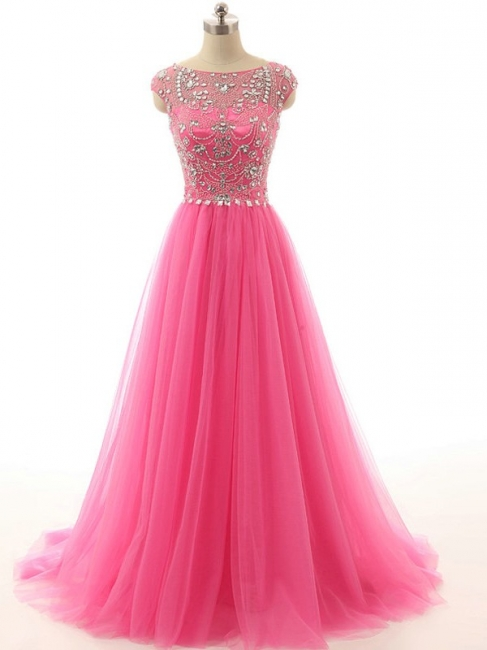 Elegant Crystal Tulle  Prom Dresses A-Line Beading Sweep Train Evening Gowns