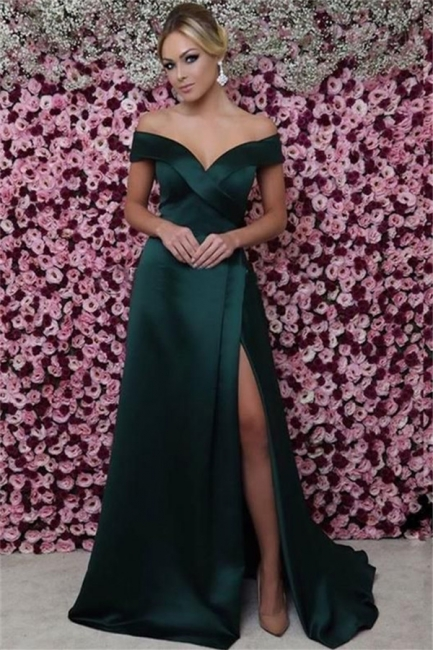 Chic Off-the-Shoulder Dark Green Prom Dress Sexy Sleeveless Side Slit Party Dresses On Sale