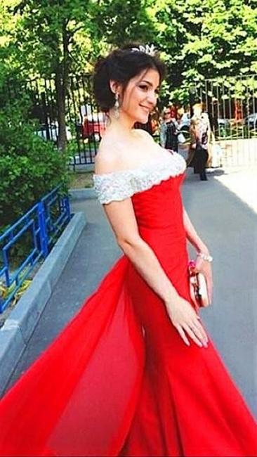 Elegant Off The Shoulder Prom Dress Chiffon Court Train Sheath Evening Gown