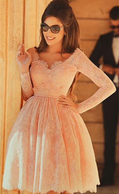 Cute Pink V-Neck Long Sleeve Homecoming Dress Latest A-Line Lace Knee Length Coctail Dresses BA7066