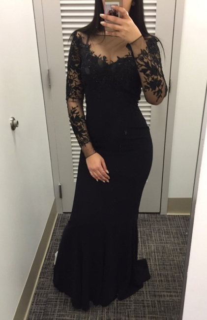 Mermaid Black Long Sleeve Party Gowns Sexy Lace Applique Long Wvening Gowns