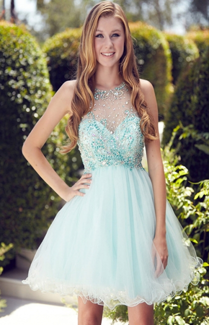 Cute A-Line Crystal Short Cocktail Gowns Beading Sleeveless Mini  Homecoming Dresses BA6002