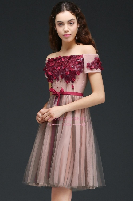 Short-Sleeves Off-the-Shoulder Burgundy-Flowers Knee-Length Homecoming Dresses