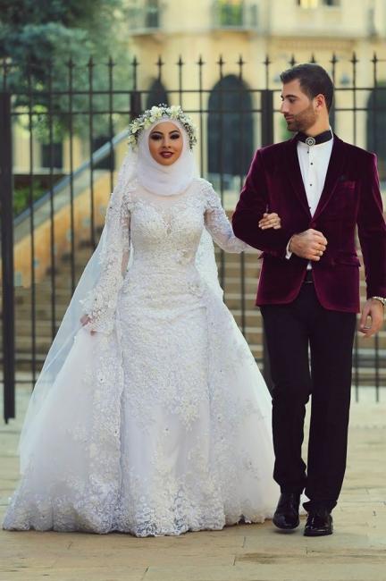 Latest White Lace Long Sleeve Arabic Bridal Dresses Formal Sweep Train Arab Wedding Dress