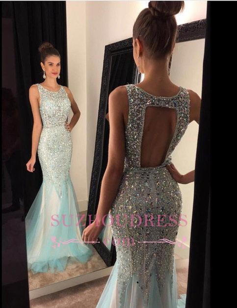 Sleeveless Luxury Scoop Crystal Mermaid  Tulle Prom Dresses GA094 BA7309