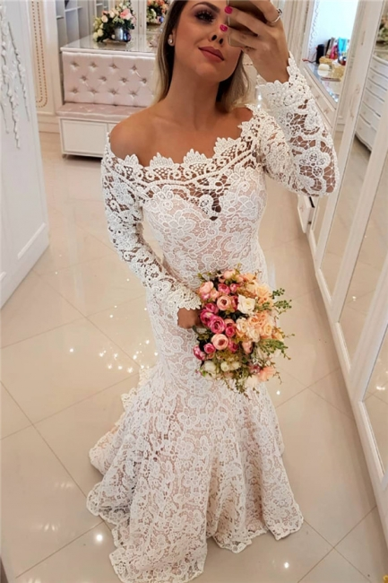 Off The Shoulder Lace Mermaid Wedding Dresses   Long Sleeve  Sexy  Bride Dress