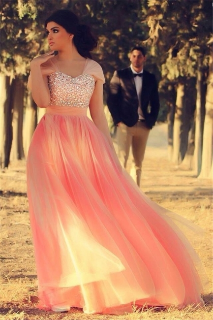 Cute Pink Crystal Short Sleeve Prom Dress New ArrivaL Tulle Long Evening Dress for Women