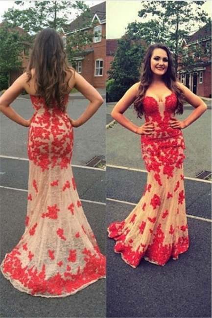 Sexy Sheath Red Lace Appliques Open Back Champagne Tulle Prom Dresses