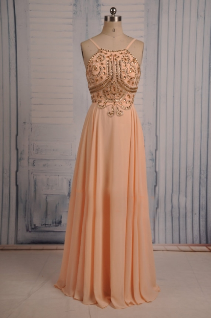 Coral Chiffon Spaghetti Straps Prom Dresses with Sparkly Crystals  Long Evening Dresses